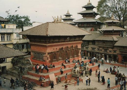 Four temples in Durbar Square, Kathmandu.