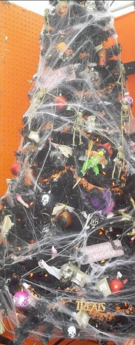 Halloween decorations meet Christmas tree.