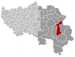 Map location of the municipality of Waimes in Liège province, Belgium