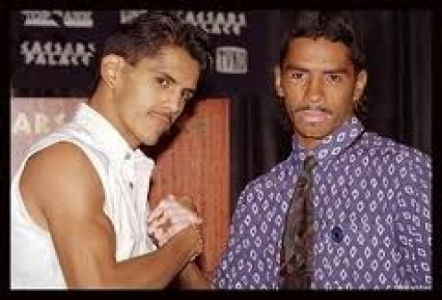 Gabriel Ruelas and Jimmy Garcia (Far Right) pose for pictures prior to their bout which took place May 6, 1995.