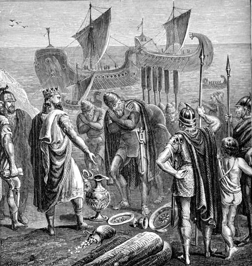 Phoencians bringing treasure to King Solomon