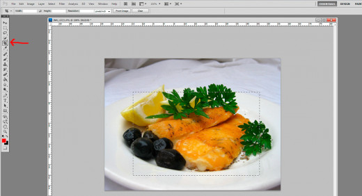6. Select the crop tool. Then draw a box where you want to cut the photo. A dotted line will appear.