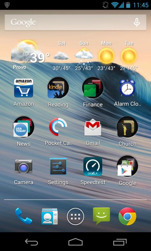 My Nexus 4 home screen.