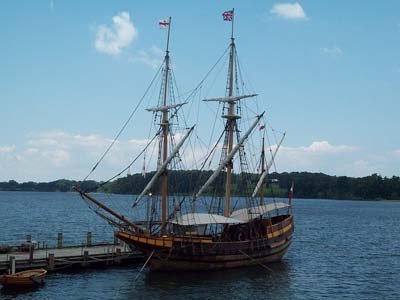 Reconstructed ship similar to the one James met in St. Mary's City