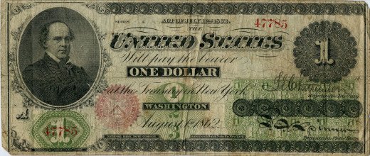 """US paper currency $1 """"greenback"""""""