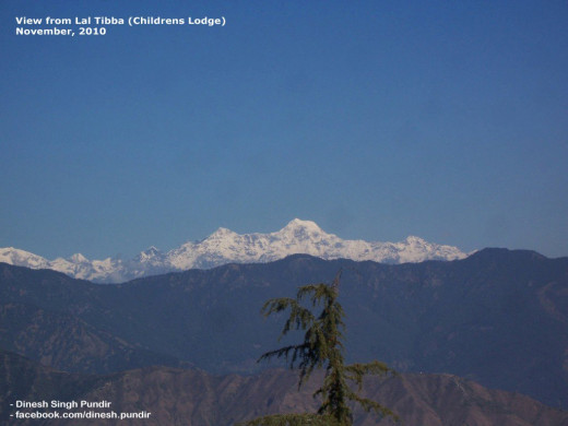 Just a portion of the panorama of snow moutains but the most prominent peak, Bandar Poonch (the source of the Ganges River)