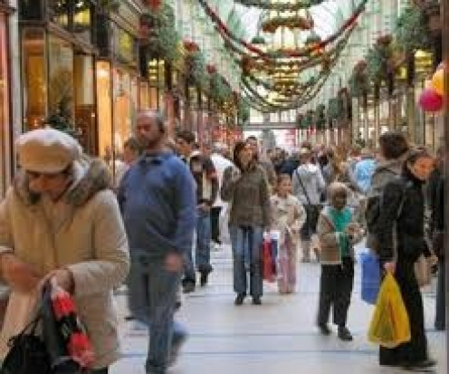 Millions of people flock to the malls every December to buy presents for their families. December is the busiest shopping month of the year in America.