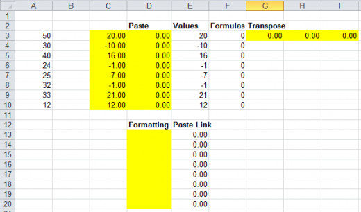 Results of the various Paste Options in Excel 2010.