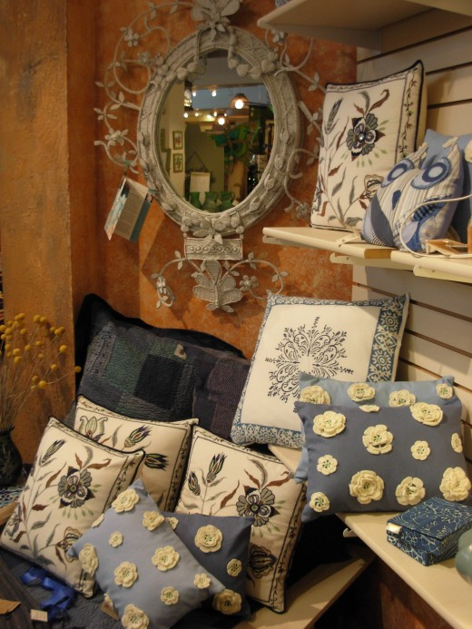 Just one design of lovely pillows found at the Ten Thousand Villages Store in Ephrata, PA