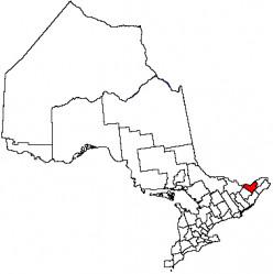 Map location of Ottawa, Ontario