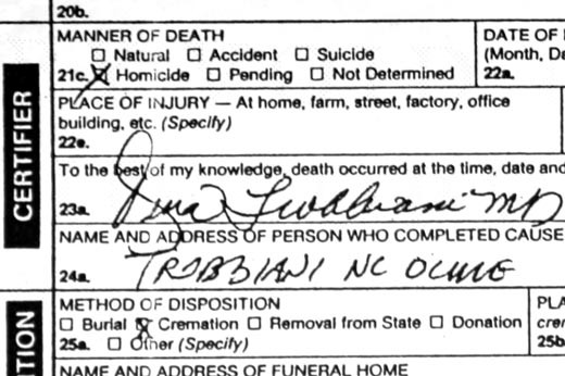 Death Certificate lists cause of death as homocide