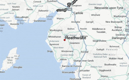 Location of Rosthwaite in Borrowdale in relation to Cumbria, the Lakes and the north-west