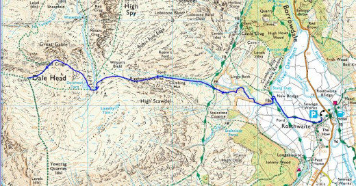 The route west and back from Rosthwaite in Borrowdale