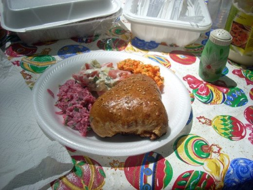 Russian Koralevski Beet Salad with Samsa and Uzbek Carrot Salad