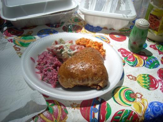 Russian Koralevski Beet Salad with Samsa and Uzbek Carrot Salad
