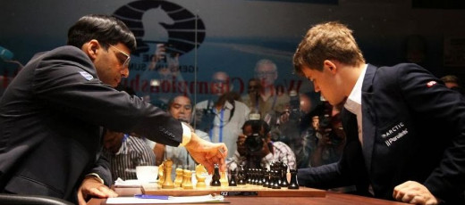 Viswanathan Anand vs Magnus Carlsen at World Chess Championship 2013, in Chennai, India.