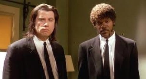 John Travolta and Samuel L. Jackson played as gangsters that killed for their pay checks.
