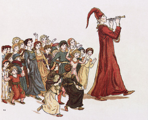 """The Pied Piper of Hamelin"" illustration by Kate Greenaway for Robert Browning."
