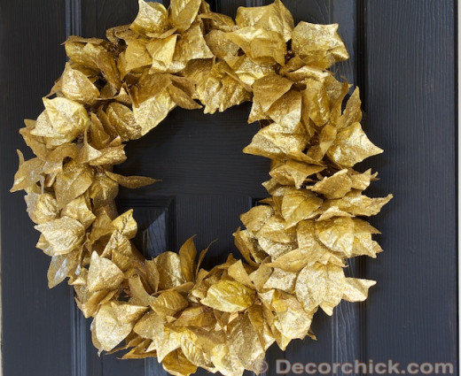 Gold Leaf Wreath DIY