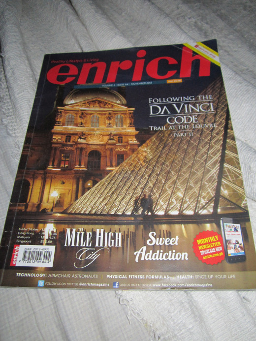 Cover of Enrich November, 2013 issue where my article was  featured.