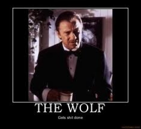 The Wolf solves all major issues for Marsellus Wallace whom is a big time criminal.