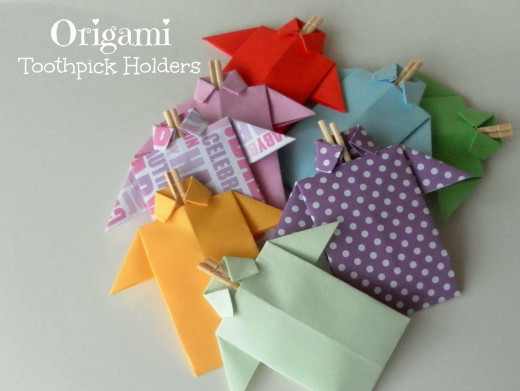 Origami Shirt Toothpick Holders.