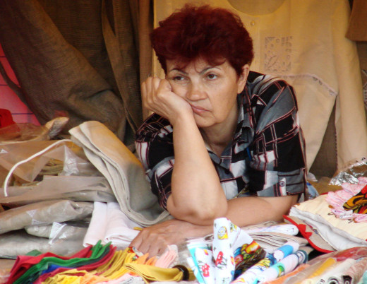 Typical bored look by a souvenir seller in Moscow