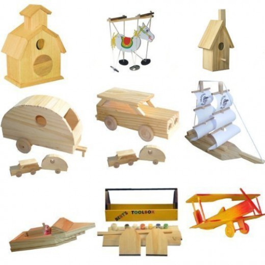 Wood building kits for kids for Wood crafts for kids