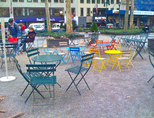 A quiet afternoon in Bryant Park.