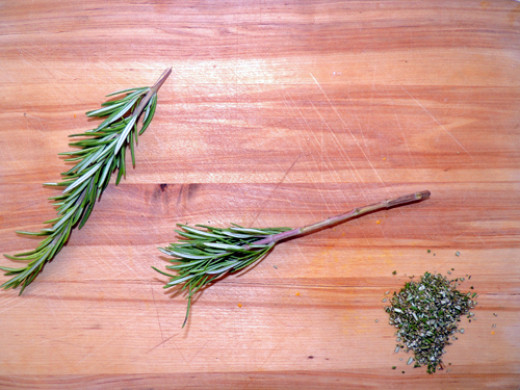remove needles from rosemary, and chop to a very fine dice, reserving a bit for garnish
