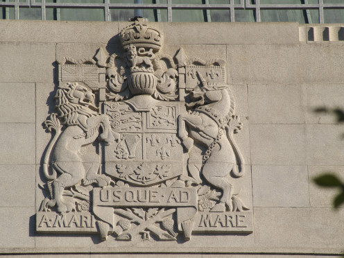 Relief of the coat of arms of Canada on the Bank of Canada Building in Ottawa.