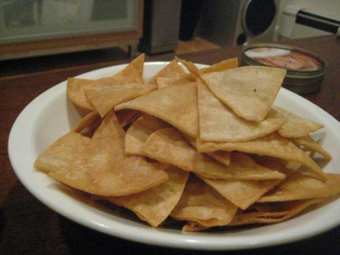 Make your own homemade baked tortilla chips.