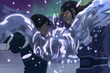 The final clash between Korra and her deranged uncle Unalaq is a gripping encounter.