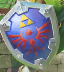 The Hylian Shield, as depicted on official concept art by Nintendo.