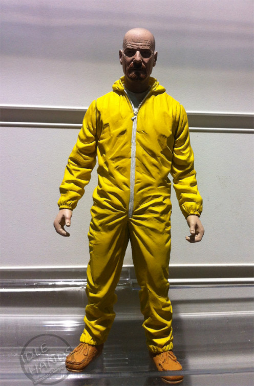 Realistic action figure with lots of facial details of Heisenberg in a hazmat suit