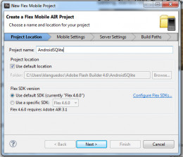 Figure 1: Creating a new mobile project in Flash Builder 4.6