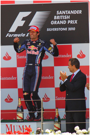Mark Webber on the podium at the 2010 British Grand Prix.