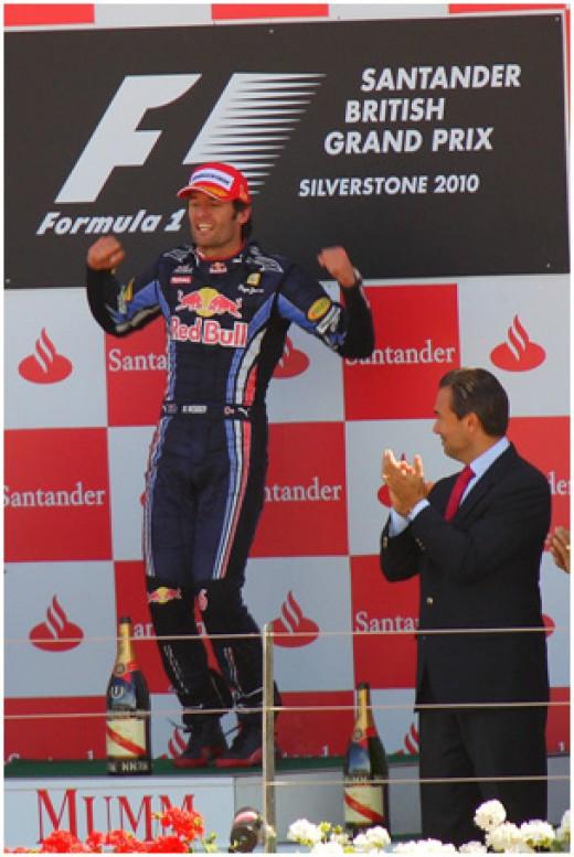 Mark Webber on the podium at the 2010 British Grand Prix.