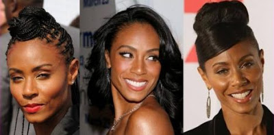 Images of Jada Pinkett Smith through the years, showing many differences in facial features.