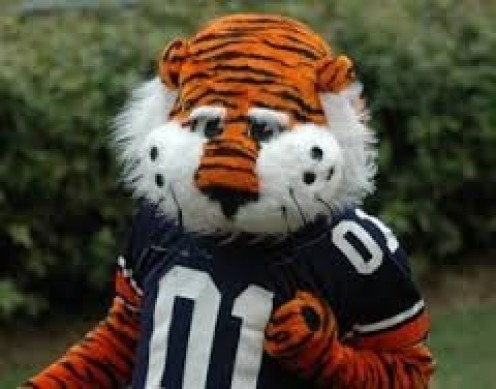 """Aubie"", the Tiger mascot helps rev up and entertain fans before, during and after games."