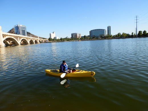 Tempe Town Lake is in the middle of a thriving city