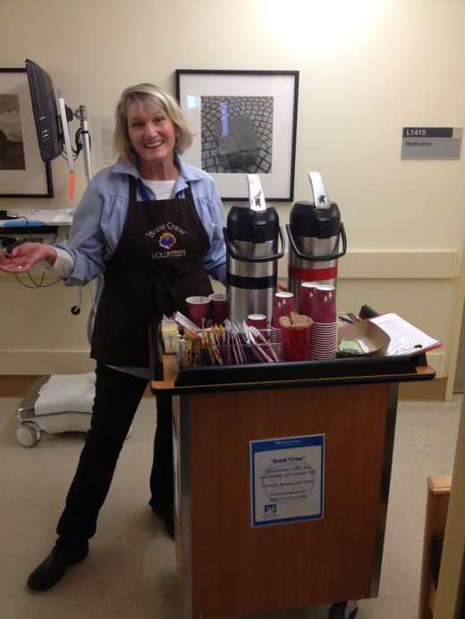 Coffee cart that travels the halls of the company selling morning coffee and sweets.
