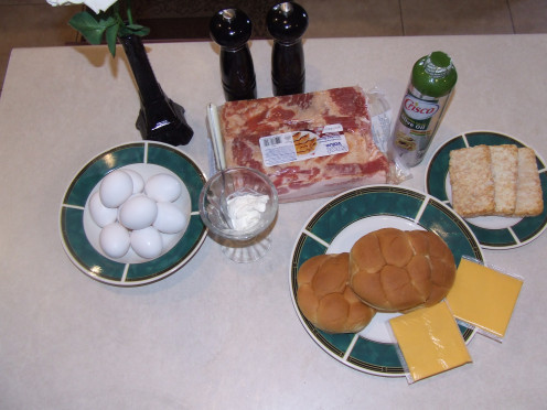 Ingredients for The Ultimate Egg Sandwich, hash browns cheese eggs and bacon. (Salt, pepper and oil also included)
