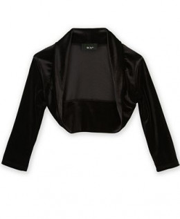 For Warmth add a beautiful black velvet shawl.  This jacket is $13.99USD at Macy's.com