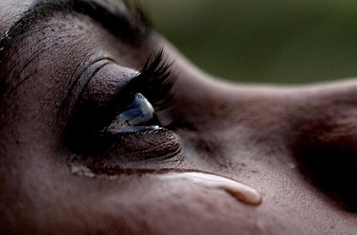 Crying African American Woman