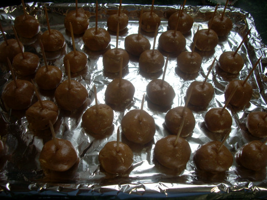 "4th Step Roll Into ~1"" Balls, Place on Aluminum Foil Lined Cookie Sheet and Put Them in the Freezer for About 1/2 Hour"