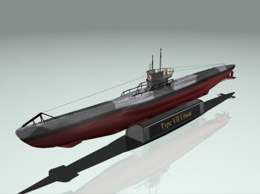 Model of Type VII U-Boat, similar to U-559