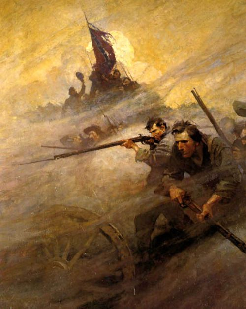 """""""The Battle,"""" illustration from """"The Long Roll,"""" by Mary Johnston (1911)"""