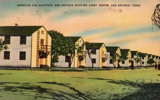 "Barracks and quarters at the San Antonio Aviation Cadet Center to house ""10 acres of flying Cadets."""