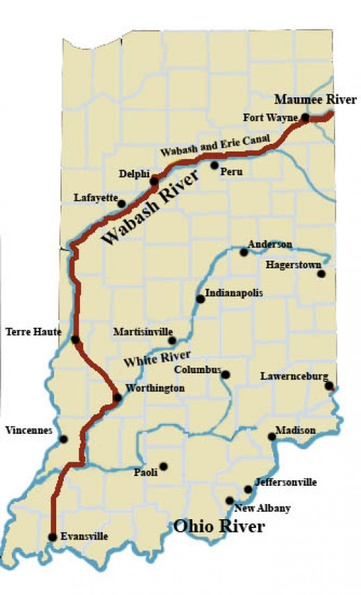 The route of the Wabash & Erie Canal in Indiana